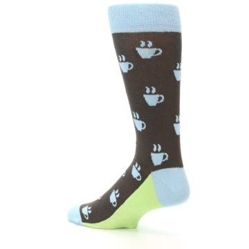 Image of Brown Light Blue Coffee Cup Men's Dress Socks (side-2-back-14)