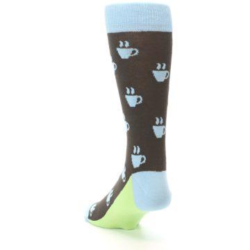 Image of Brown Light Blue Coffee Cup Men's Dress Socks (side-2-back-16)