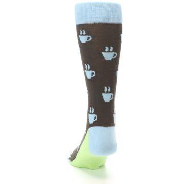 Image of Brown Light Blue Coffee Cup Men's Dress Socks (back-17)
