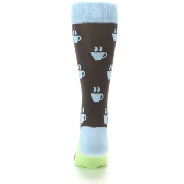 Image of Brown Light Blue Coffee Cup Men's Dress Socks (back-18)