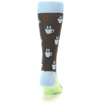 Image of Brown Light Blue Coffee Cup Men's Dress Socks (back-19)