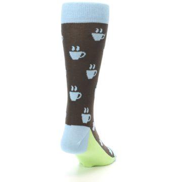 Image of Brown Light Blue Coffee Cup Men's Dress Socks (side-1-back-20)