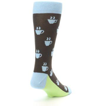 Image of Brown Light Blue Coffee Cup Men's Dress Socks (side-1-back-21)