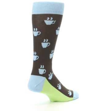 Image of Brown Light Blue Coffee Cup Men's Dress Socks (side-1-back-22)