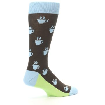 Image of Brown Light Blue Coffee Cup Men's Dress Socks (side-1-23)