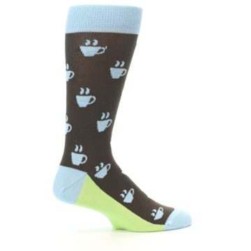 Image of Brown Light Blue Coffee Cup Men's Dress Socks (side-1-24)