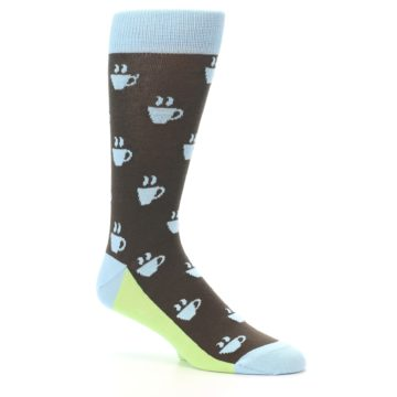 Image of Brown Light Blue Coffee Cup Men's Dress Socks (side-1-26)