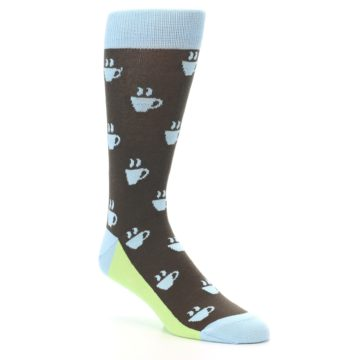 Image of Brown Light Blue Coffee Cup Men's Dress Socks (side-1-27)