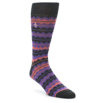 Image of Charcoal Purple Orange Stripe Men's Dress Socks (side-1-front-01)