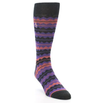 Image of Charcoal Purple Orange Stripe Men's Dress Socks (side-1-front-02)