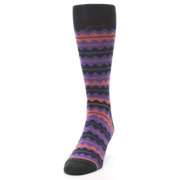 Image of Charcoal Purple Orange Stripe Men's Dress Socks (side-2-front-06)