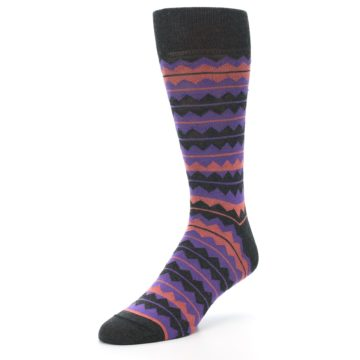 Image of Charcoal Purple Orange Stripe Men's Dress Socks (side-2-front-08)