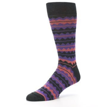 Image of Charcoal Purple Orange Stripe Men's Dress Socks (side-2-09)