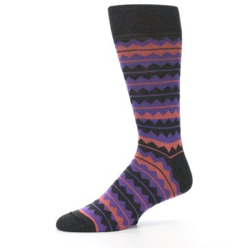 Image of Charcoal Purple Orange Stripe Men's Dress Socks (side-2-10)