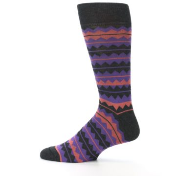 Image of Charcoal Purple Orange Stripe Men's Dress Socks (side-2-12)
