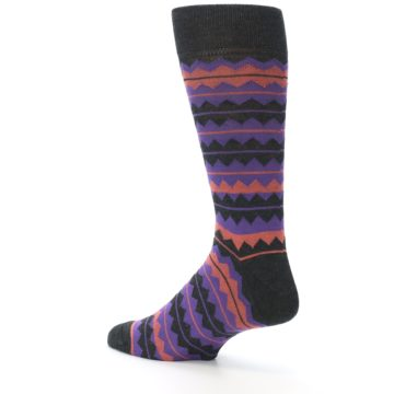 Image of Charcoal Purple Orange Stripe Men's Dress Socks (side-2-back-14)