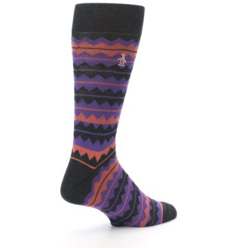 Image of Charcoal Purple Orange Stripe Men's Dress Socks (side-1-back-22)