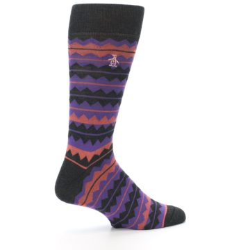 Image of Charcoal Purple Orange Stripe Men's Dress Socks (side-1-23)