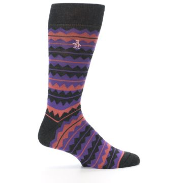 Image of Charcoal Purple Orange Stripe Men's Dress Socks (side-1-24)
