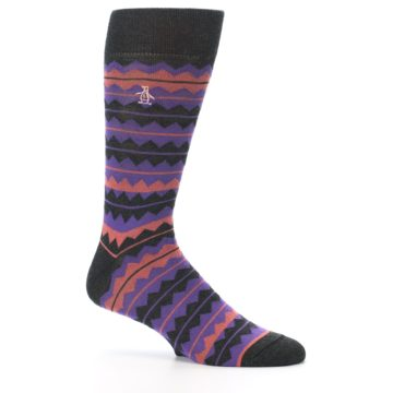 Image of Charcoal Purple Orange Stripe Men's Dress Socks (side-1-25)