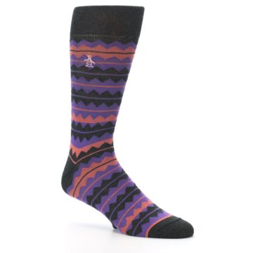 Image of Charcoal Purple Orange Stripe Men's Dress Socks (side-1-26)