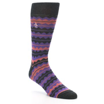 Image of Charcoal Purple Orange Stripe Men's Dress Socks (side-1-27)