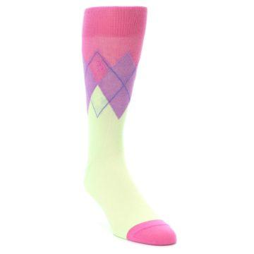 Image of Pistachio Pink Purple Argyle Men's Dress Socks (side-1-front-02)