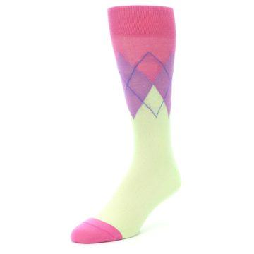 Image of Pistachio Pink Purple Argyle Men's Dress Socks (side-2-front-08)