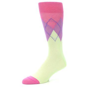 Image of Pistachio Pink Purple Argyle Men's Dress Socks (side-2-09)