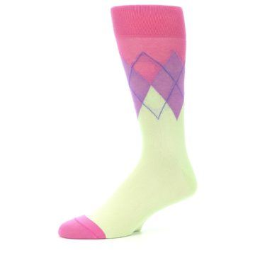 Image of Pistachio Pink Purple Argyle Men's Dress Socks (side-2-10)