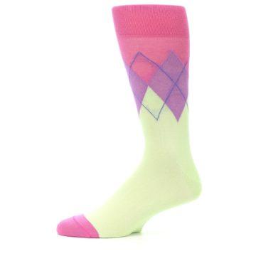 Image of Pistachio Pink Purple Argyle Men's Dress Socks (side-2-11)