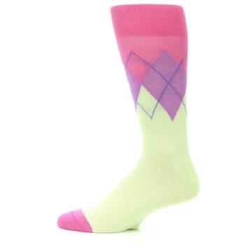 Image of Pistachio Pink Purple Argyle Men's Dress Socks (side-2-12)