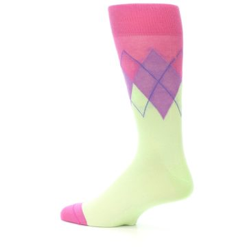 Image of Pistachio Pink Purple Argyle Men's Dress Socks (side-2-13)