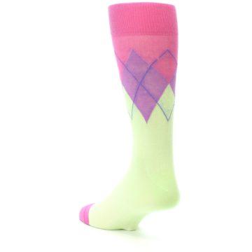 Image of Pistachio Pink Purple Argyle Men's Dress Socks (side-2-back-15)
