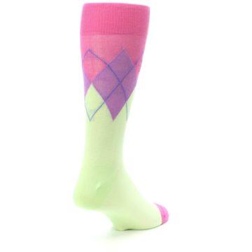 Image of Pistachio Pink Purple Argyle Men's Dress Socks (side-1-back-21)