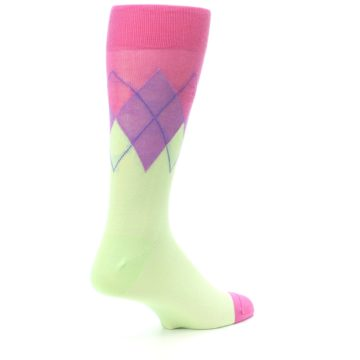 Image of Pistachio Pink Purple Argyle Men's Dress Socks (side-1-back-22)