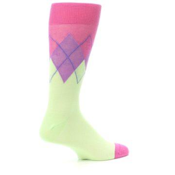 Image of Pistachio Pink Purple Argyle Men's Dress Socks (side-1-23)