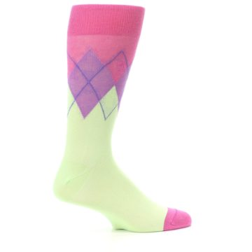 Image of Pistachio Pink Purple Argyle Men's Dress Socks (side-1-24)