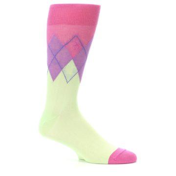 Image of Pistachio Pink Purple Argyle Men's Dress Socks (side-1-25)