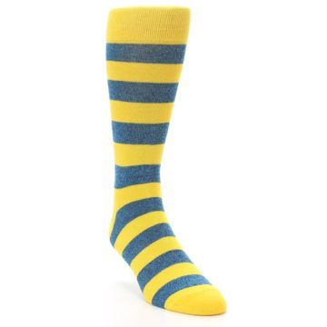 Image of Yellow Blue Stripe Men's Dress Socks (side-1-front-02)