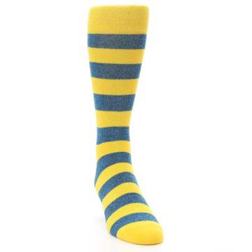 Image of Yellow Blue Stripe Men's Dress Socks (side-1-front-03)