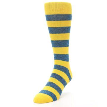 Image of Yellow Blue Stripe Men's Dress Socks (side-2-front-07)