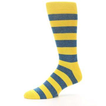 Image of Yellow Blue Stripe Men's Dress Socks (side-2-10)