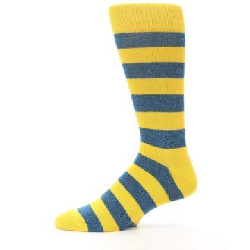 Image of Yellow Blue Stripe Men's Dress Socks (side-2-11)