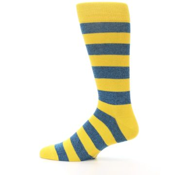 Image of Yellow Blue Stripe Men's Dress Socks (side-2-12)