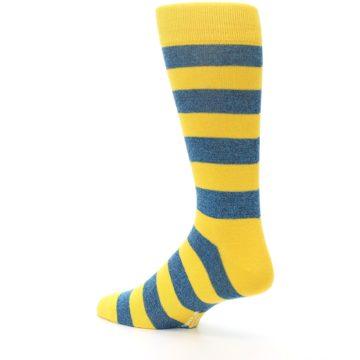 Image of Yellow Blue Stripe Men's Dress Socks (side-2-back-14)