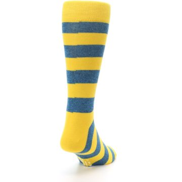 Image of Yellow Blue Stripe Men's Dress Socks (side-1-back-20)