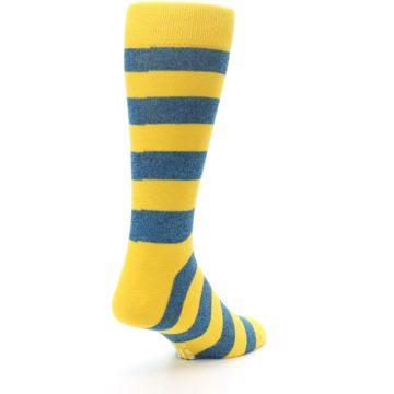 Image of Yellow Blue Stripe Men's Dress Socks (side-1-back-21)