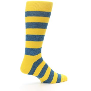 Image of Yellow Blue Stripe Men's Dress Socks (side-1-23)