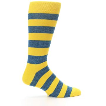 Image of Yellow Blue Stripe Men's Dress Socks (side-1-24)